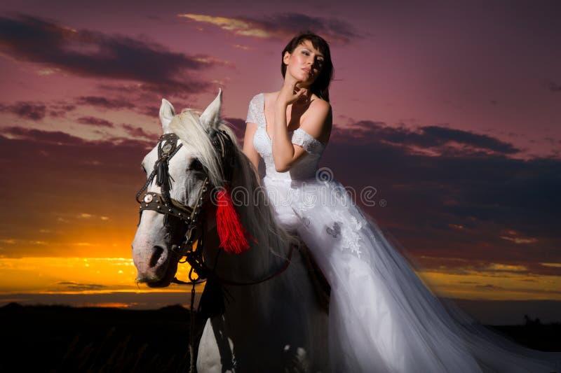 Belle jeune mariée à cheval photos stock