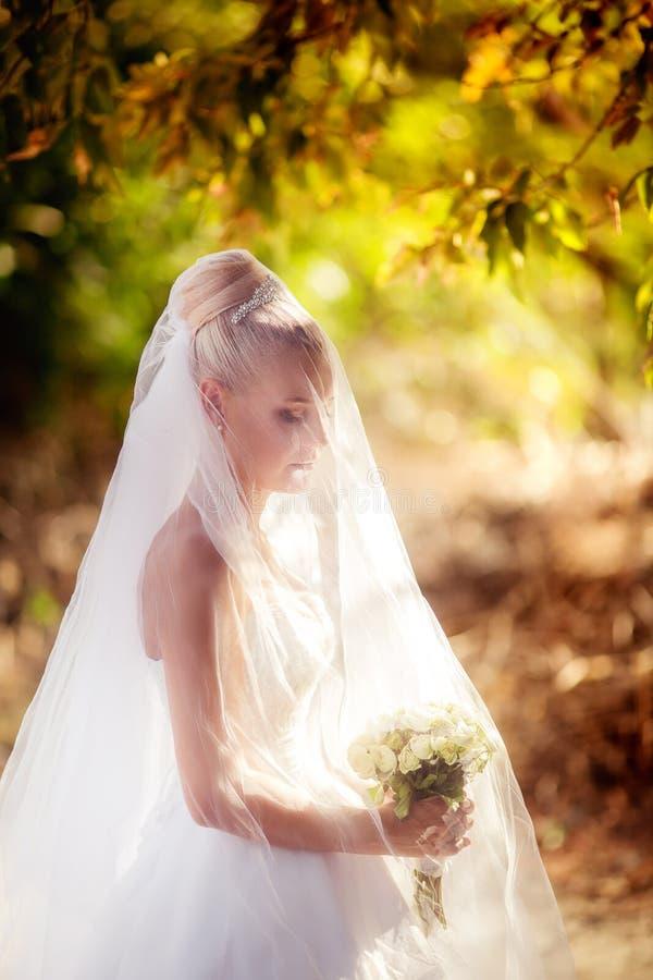 Belle jeune mariée dans la robe blanche dans le jardin d'automne image libre de droits