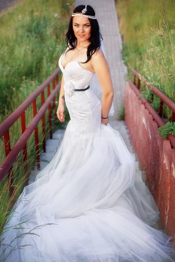 Belle jeune mariée dans un domaine image stock