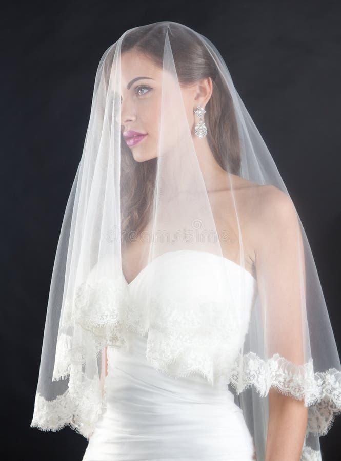 belle jeune mari e dans une robe de mariage avec les paules et le voile nus image stock image. Black Bedroom Furniture Sets. Home Design Ideas