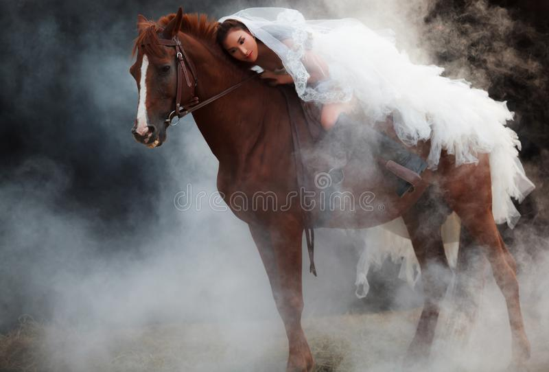 Belle jeune mariée de beauté dans l'équitation nuptiale blanche de costume de mariage de mode sur le cheval musculaire fort sur l photos stock