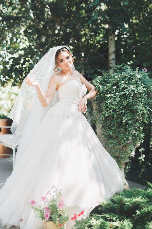 Belle jeune mariée de brune dans la robe blanche élégante tenant le bouquet posant les arbres ordonnés image stock