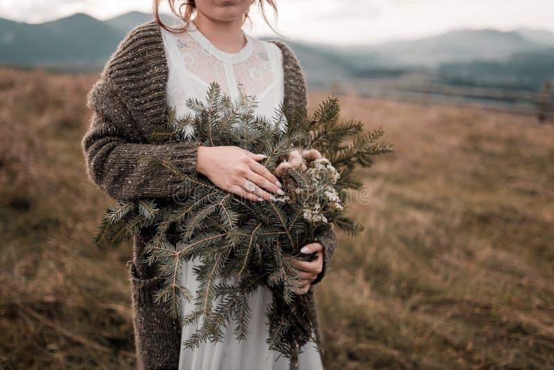 Belle jeune mariée de brune dans la robe de mariage légère de mousseline de soie brodée avec des perles posant près des mont image libre de droits