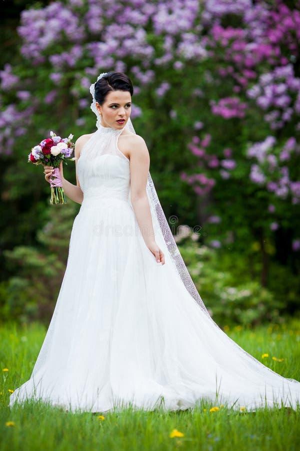 Belle jeune mariée de brune posant dans le pré de fleur avec épouser la BO photos libres de droits