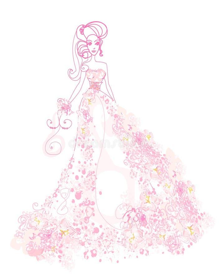 Belle jeune mariée florale abstraite illustration libre de droits
