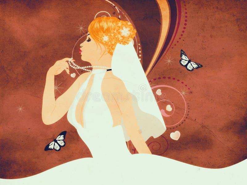 Belle jeune mariée grunge illustration libre de droits