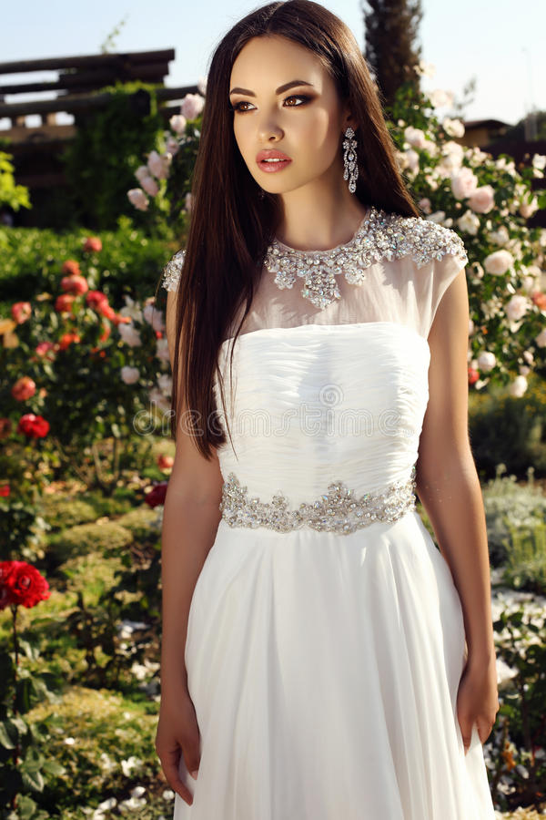 Belle jeune mariée tendre avec les cheveux foncés dans la robe de mariage élégante image libre de droits