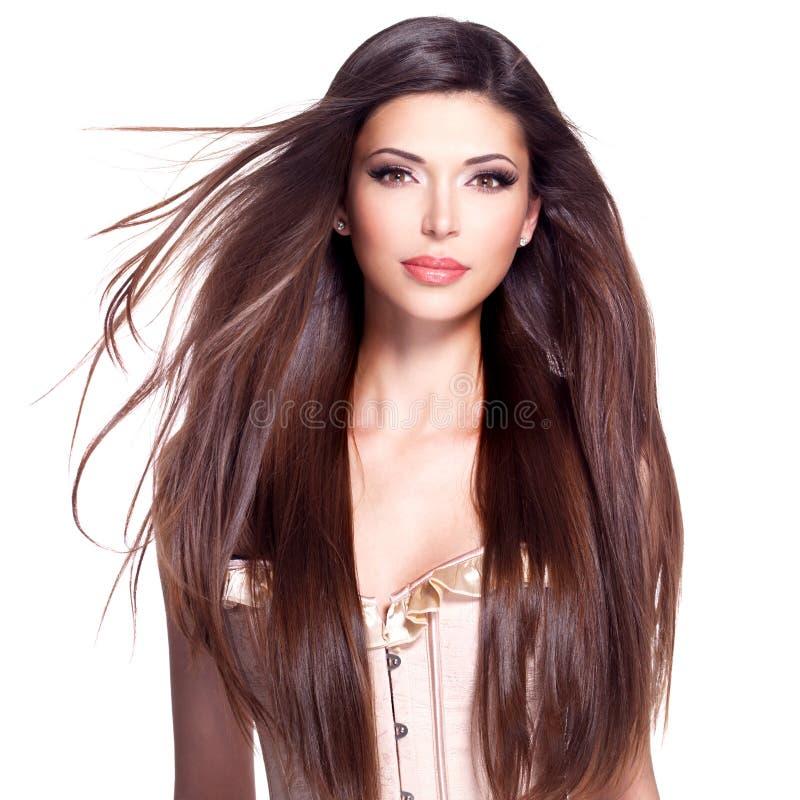 Belle jolie femme blanche avec de longs cheveux droits photos libres de droits