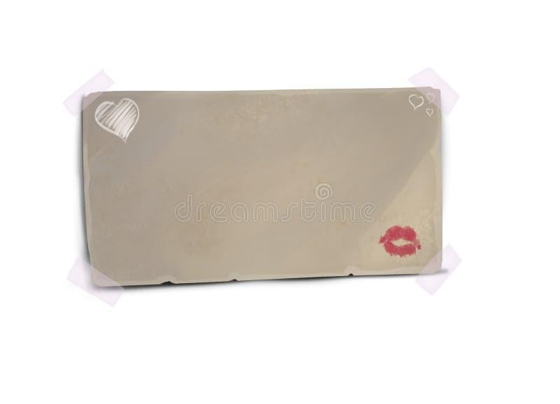 Belle lèvre de couleur rouge sur le papier, baiser par la copie rouge de lèvre illustration de vecteur