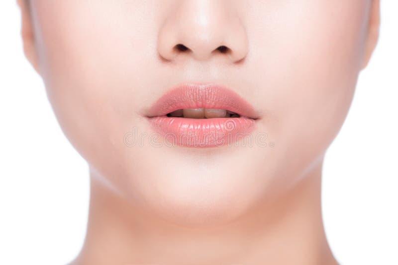 Belle labbra perfette Fine sexy della bocca su Giovane asiatico di bellezza immagini stock libere da diritti