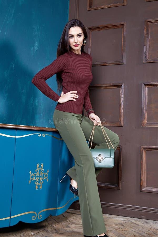 Belle laine sexy d'usage de cheveux de brune de femme image stock