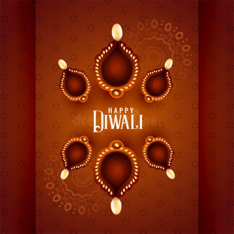 Belle lampade di diya di diwali su fondo decorativo illustrazione vettoriale