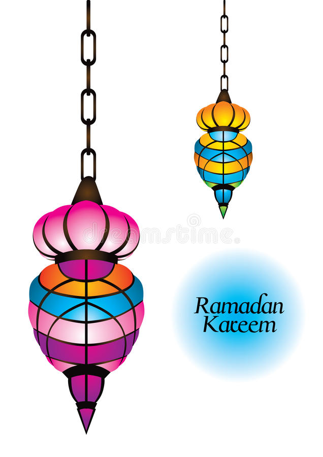 Belle lampe arabe avec le kareem ramadan illustration stock