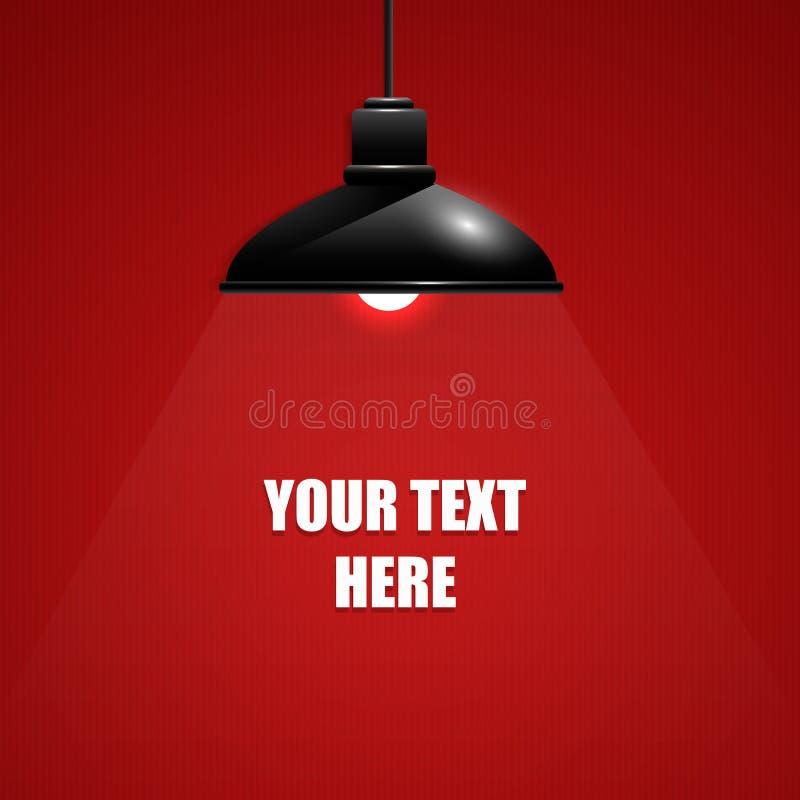 Belle lampe pendante noire sur le fond rouge avec le texte photo libre de droits