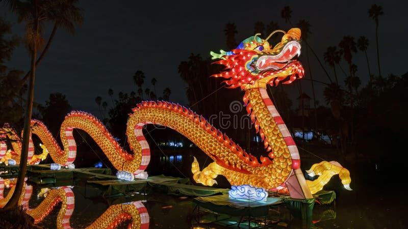 Belle lanterne colorée de dragon de clair de lune Forest Festival images stock