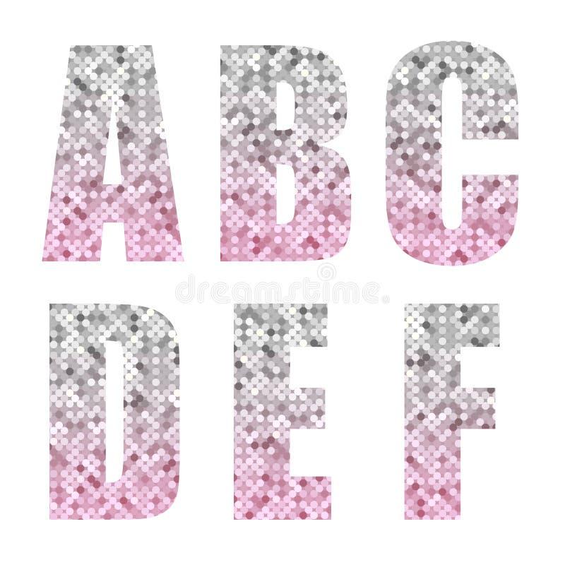 Belle lettere d'avanguardia di alfabeto di scintillio con argento per dentellare ombre illustrazione di stock