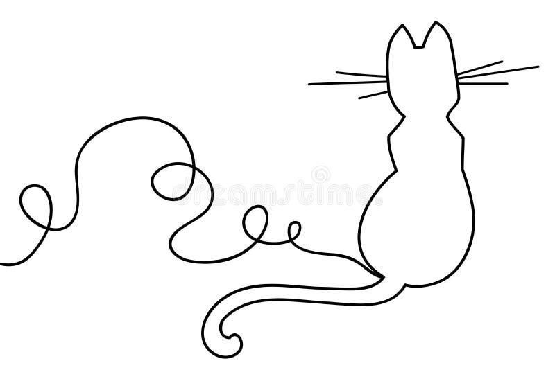Belle ligne continue minimale vecteur de conception de chat illustration libre de droits