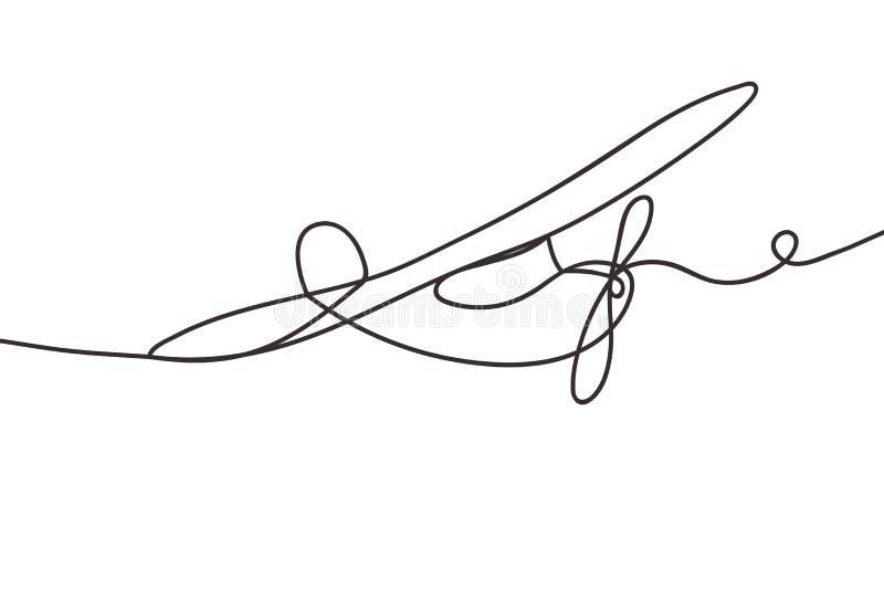 Belle ligne continue minimale vecteur de conception d'avion illustration libre de droits