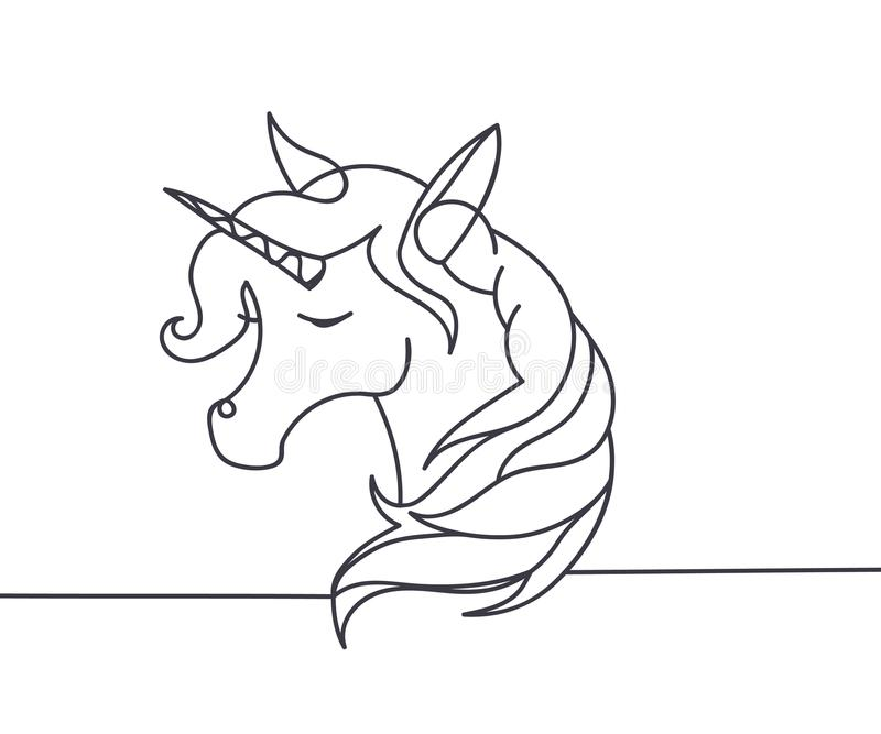 Belle ligne continue minimale vecteur de conception de licorne illustration stock