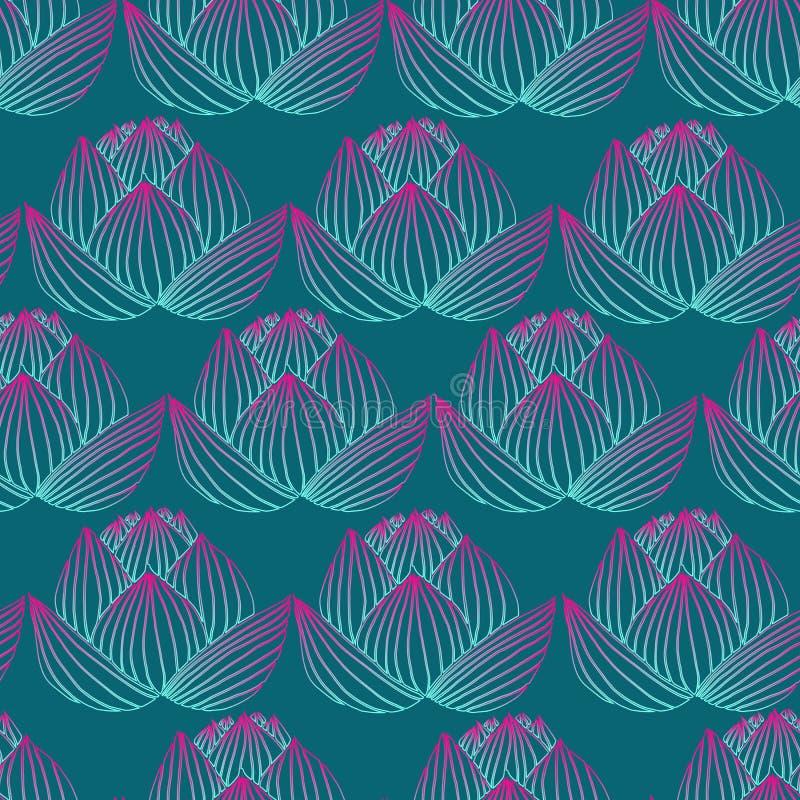 Belle, lumineuse fleur de lotus, OU au néon bleue rose de gradient de couleur illustration libre de droits