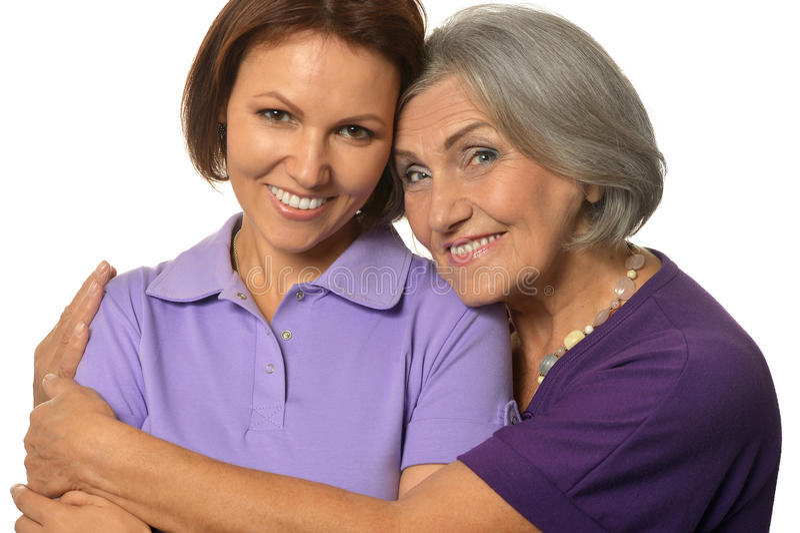 Belle mère pluse âgé avec une fille adulte photographie stock libre de droits