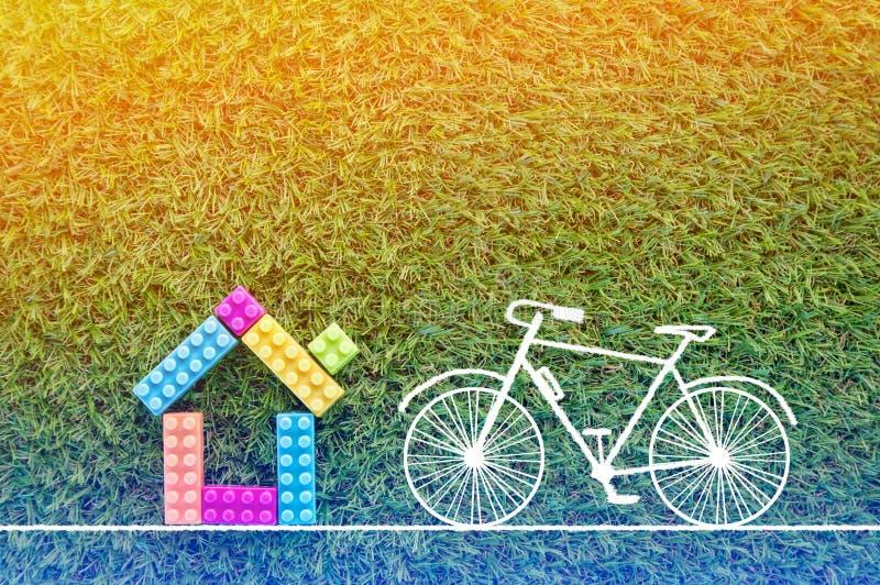 Belle Maison Avec Le Dessin De Bicyclette Sur Le Fond D'Herbe Jpg