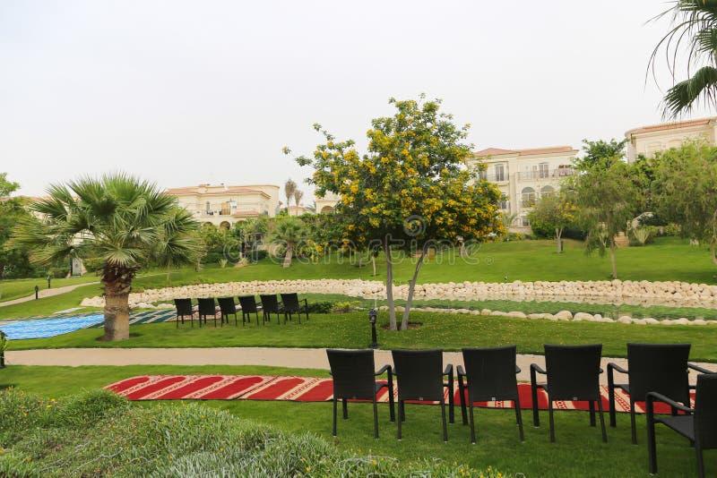 Belle maison avec le jardin de palmier image libre de droits