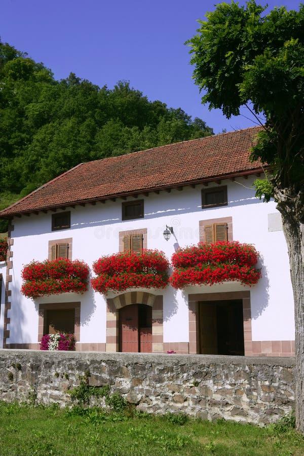 Belle maison dans Navarra avec des fleurs sur le balcon photographie stock