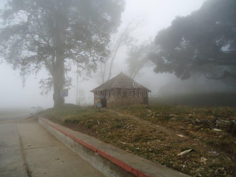 Belle maison en bois dans la vue brumeuse photo stock