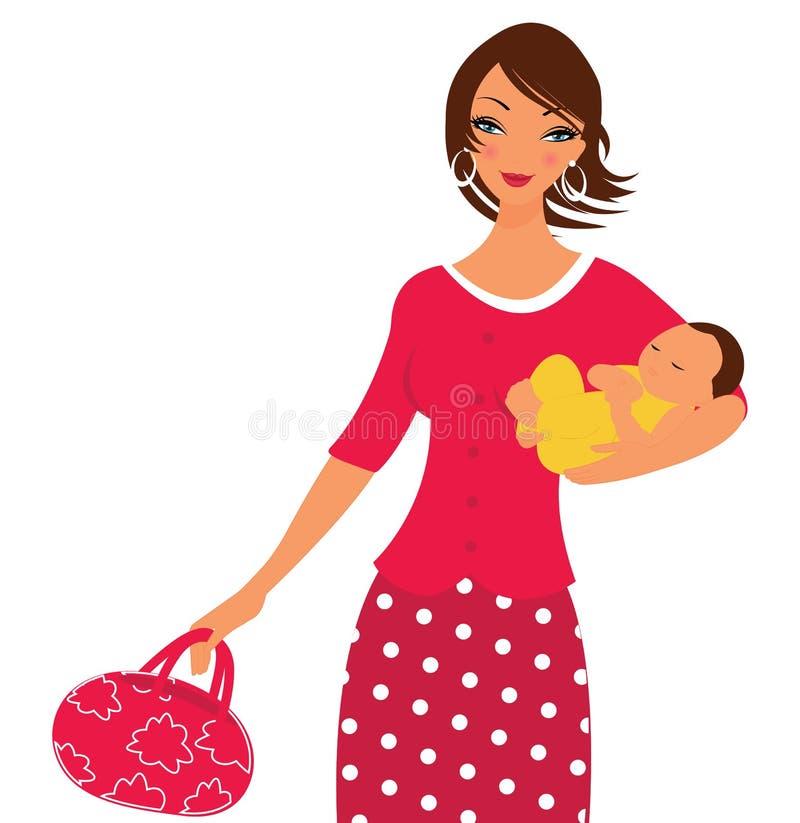 Belle maman avec sa chéri nouveau-née illustration de vecteur