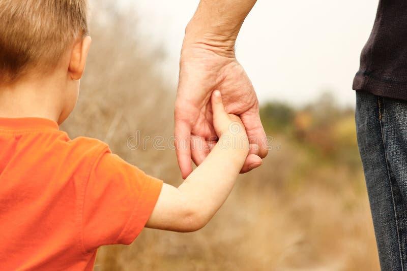 Belle mani di un bambino e di un genitore felici nel parco naturale immagini stock