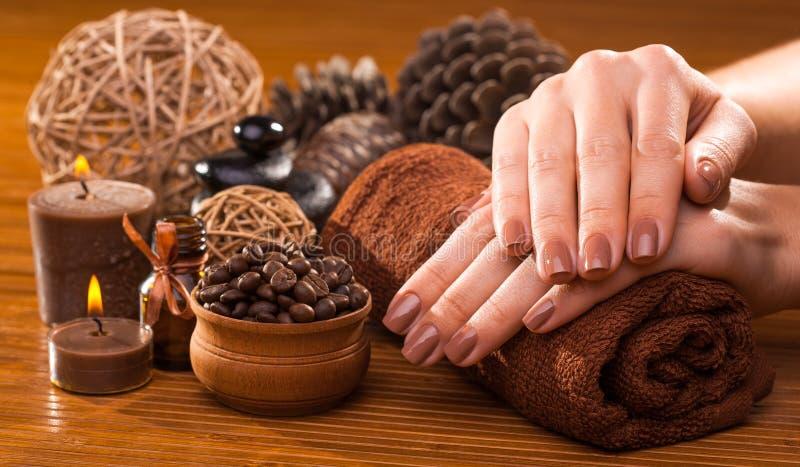 Belle manucure brune sur un fond en bambou photographie stock libre de droits