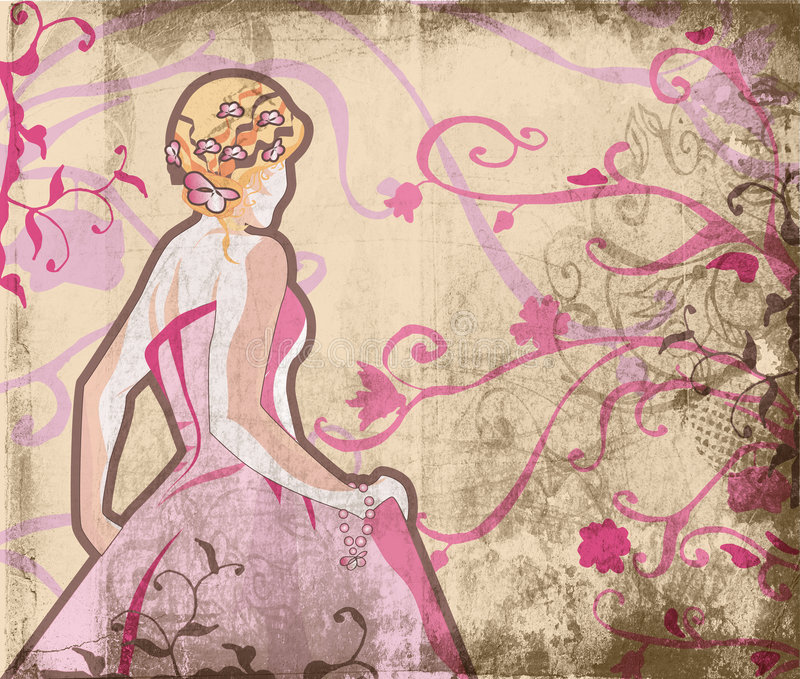 Belle mariée à la page grunge illustration libre de droits