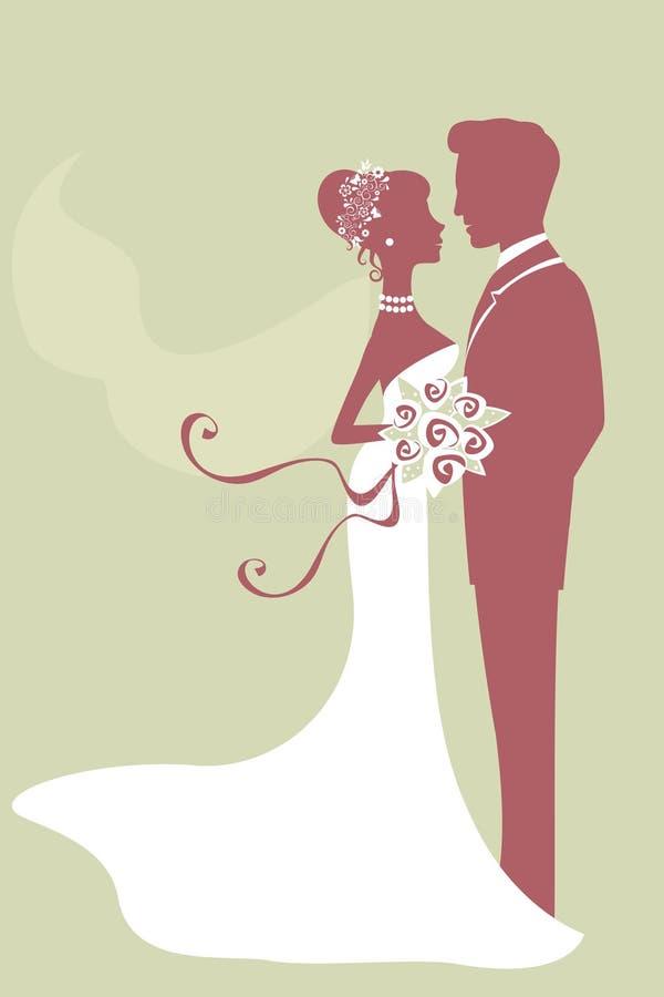 Belle mariée et marié juste mariés illustration de vecteur