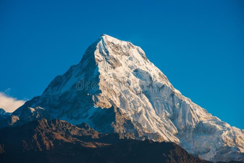 Belle montagne de neige de chaîne de l'Himalaya d'Annapurna photographie stock