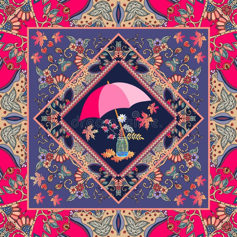 Belle nappe avec le bouquet féerique d'automne et cadre ornemental dans le style ethnique illustration stock