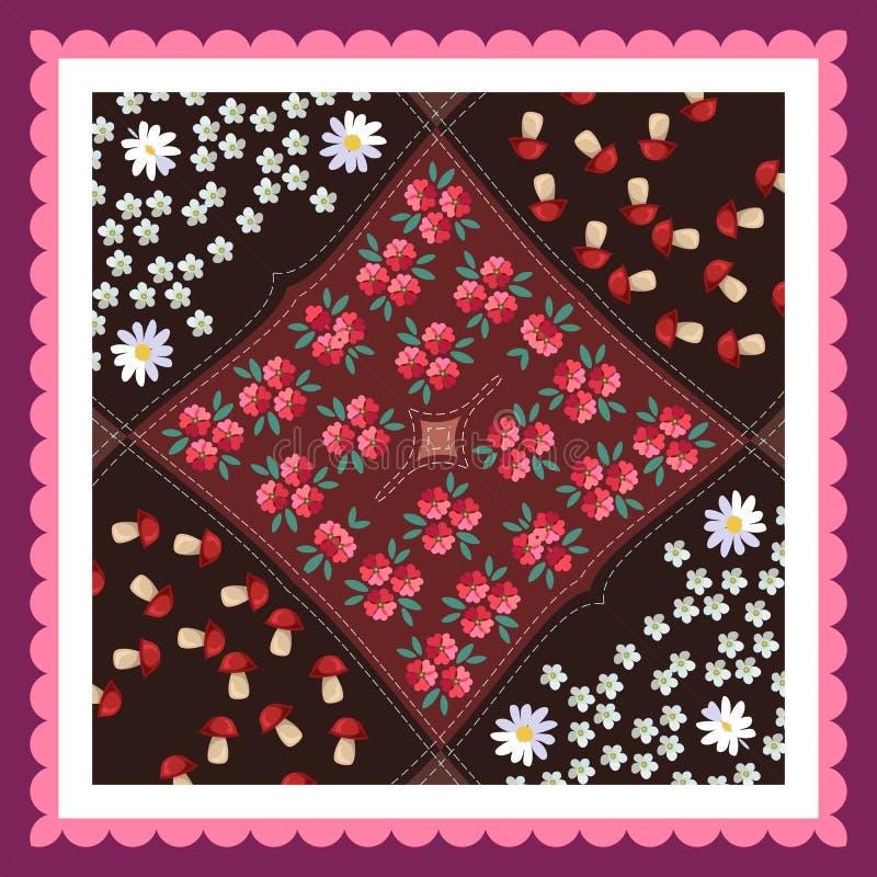 Belle nappe avec les champignons, le pavot, les marguerites, la millefeuille et le cadre rose illustration stock