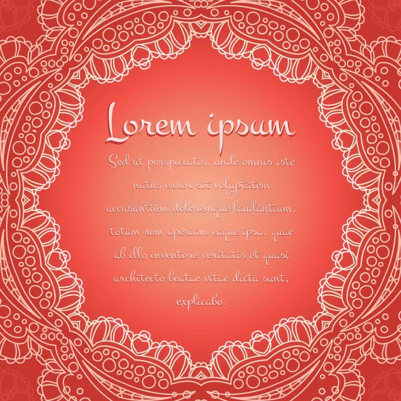 Belle nappe blanche de dentelle, napperon sur un fond de corail Éléments décoratifs de cru L'Islam, l'arabe, Indien, motifs de ta illustration stock