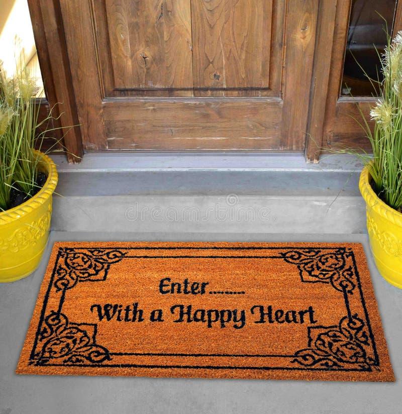 """Belle natte colorée de zute d'accueil de conception de motif avec """"'¦ d'Enterâ€à avec le texte d'un coeur heureux """"en d photo stock"""