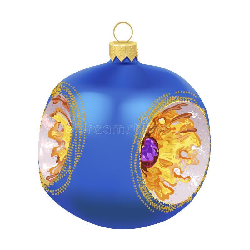 Belle nouvelle boule bleue vitreuse réaliste de l'année 3D avec l'intérieur d'ornement d'isolement sur le fond blanc Décoration t illustration stock