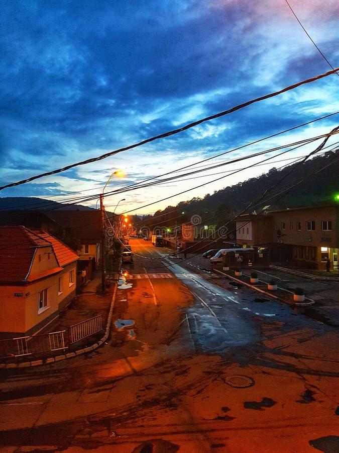 Belle nuit sur ma rue image libre de droits