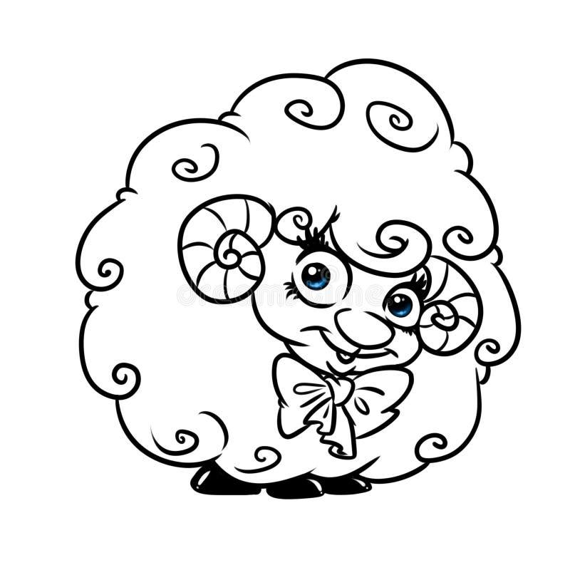 Belle page bouclée de coloration de bande dessinée d'agneau illustration de vecteur