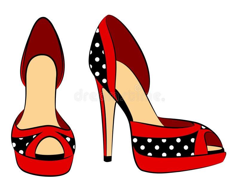 Belle paire de chaussures avec le haut talon illustration stock