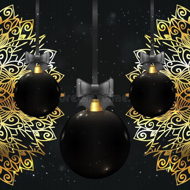 Belle palle di natale di vettore nel colore nero illustrazione di stock