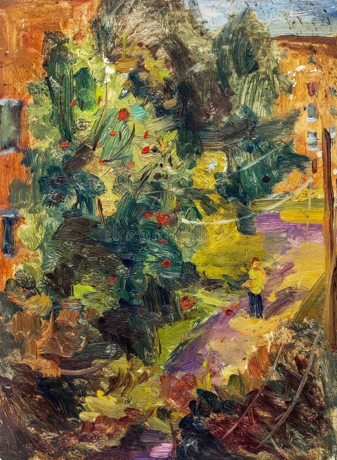 Belle peinture à l'huile originale avec la cour d'automne photos stock