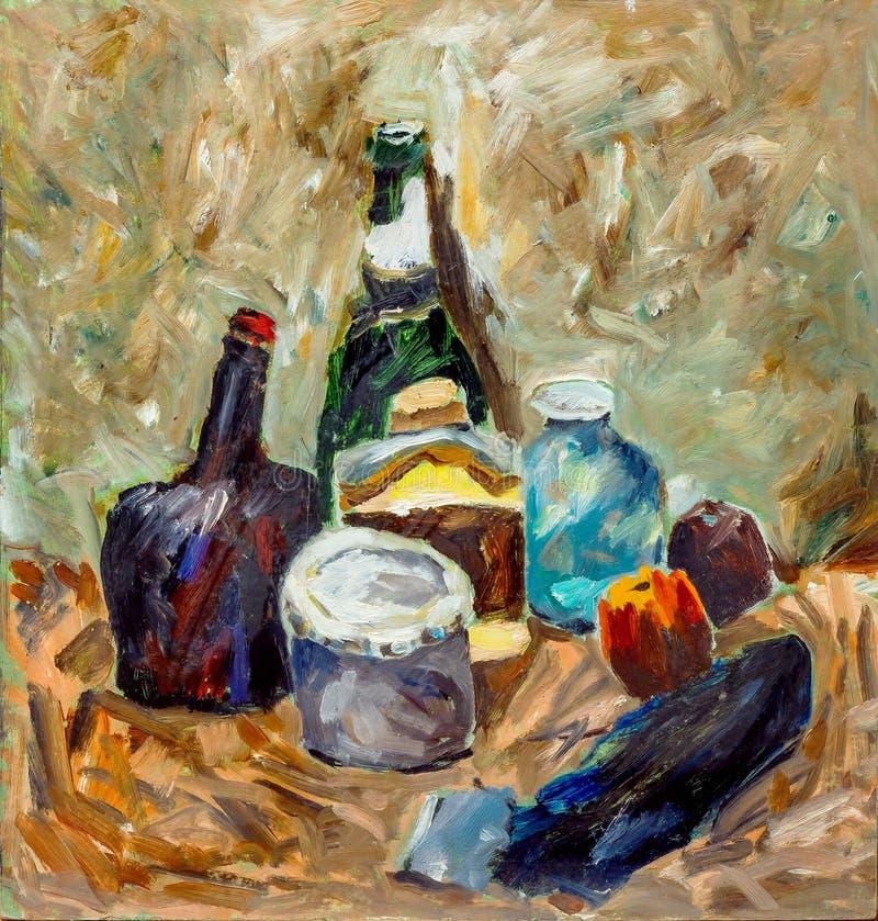 Belle peinture à l'huile originale avec la vie immobile photographie stock libre de droits