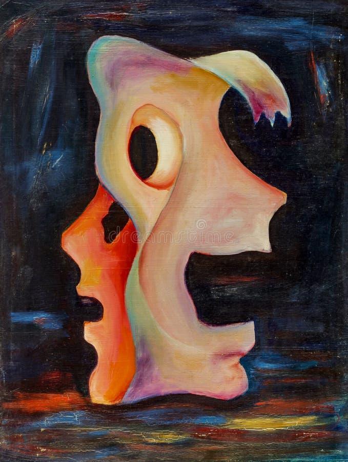 Belle peinture à l'huile originale avec le double masque images libres de droits