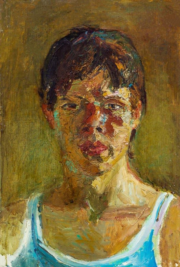 Belle peinture à l'huile originale de portrait d'une femme sur la toile photo libre de droits