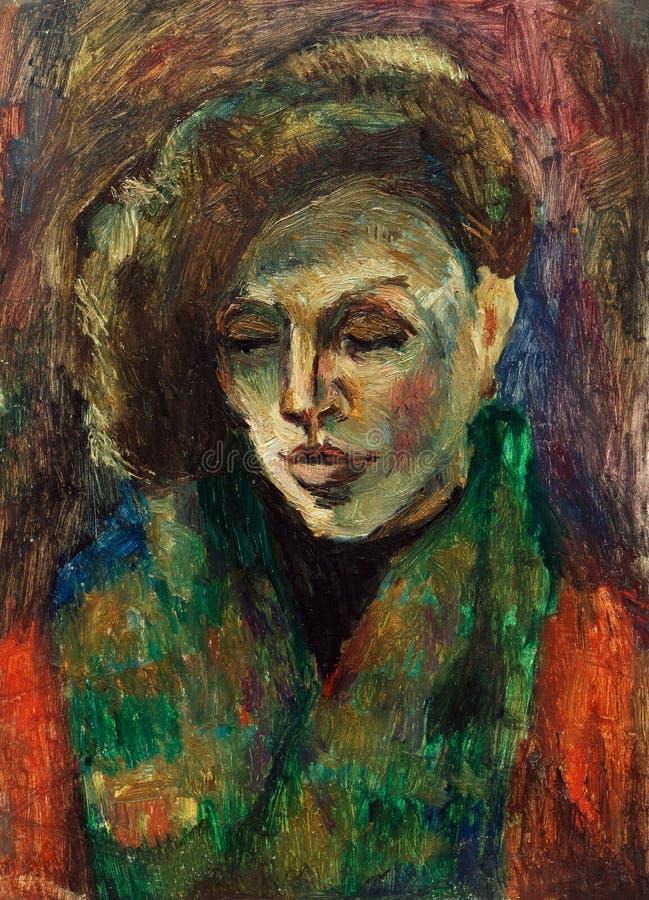 Belle peinture à l'huile originale de portrait d'une femme sur la toile images libres de droits