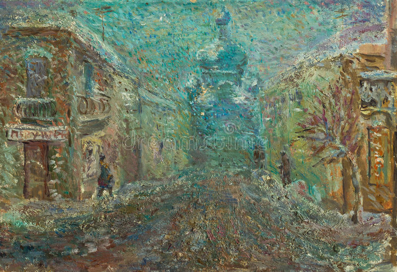 Belle peinture à l'huile originale de rue de Chernivtsi sur la toile photo stock